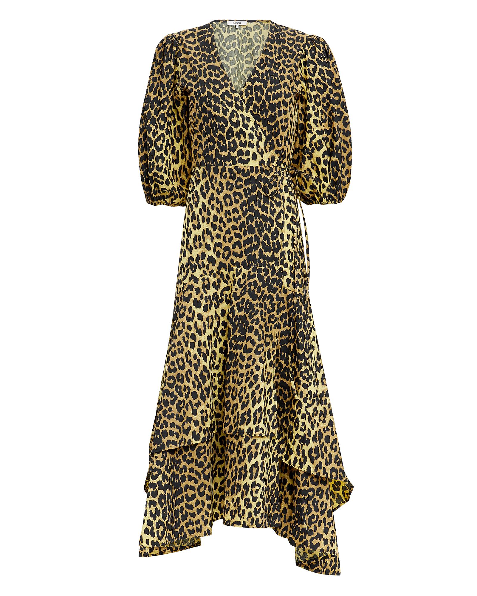 Ganni Dresses GANNI LEOPARD YELLOW WRAP MAXI DRESS  MULTI 34