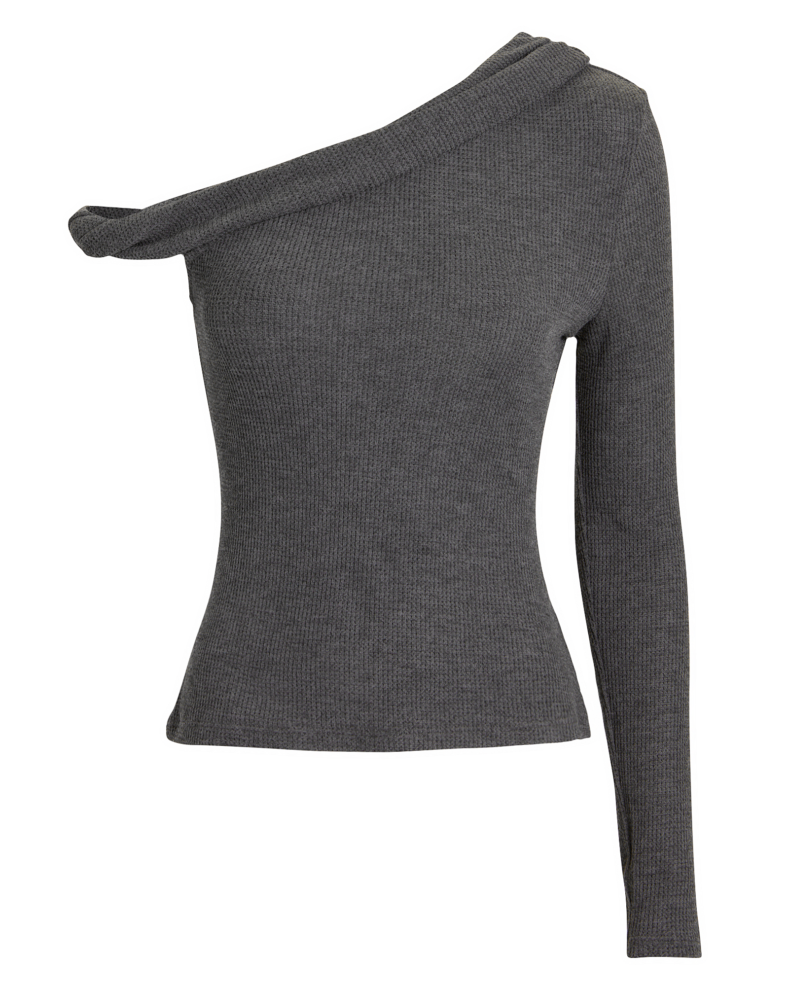 THE RANGE WAFFLE KNIT TWISTED BARE SHOULDER TO GREY