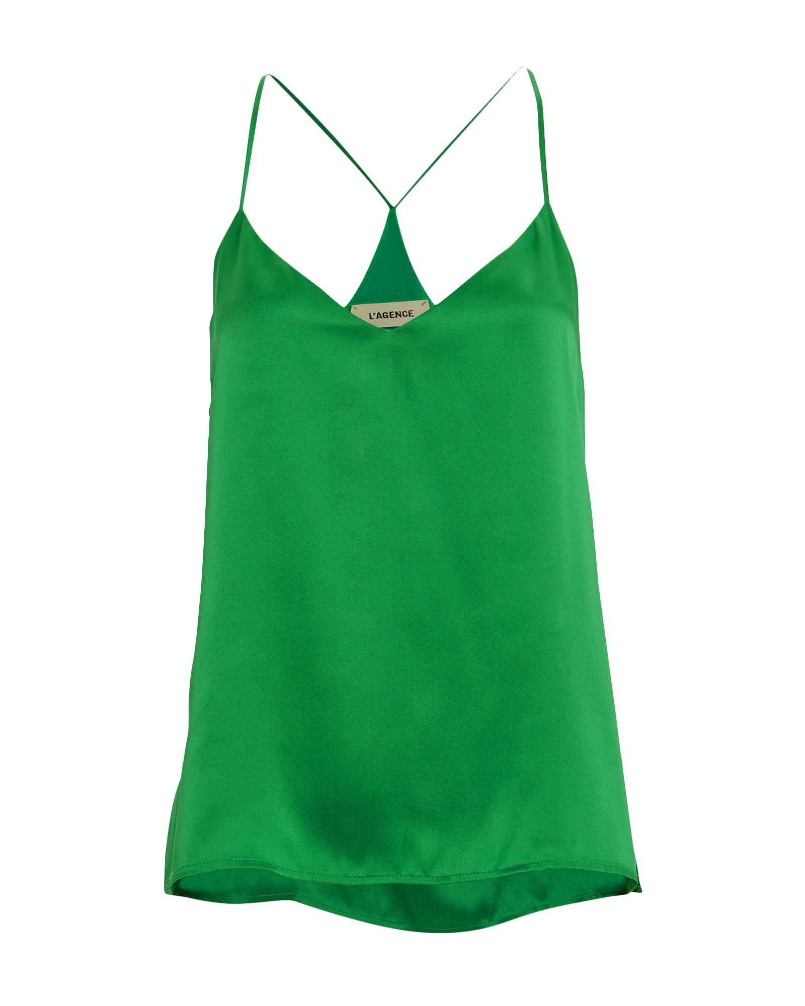 L'agence Tops L'AGENCE KYLEE SILK RACERBACK TANK  GREEN M