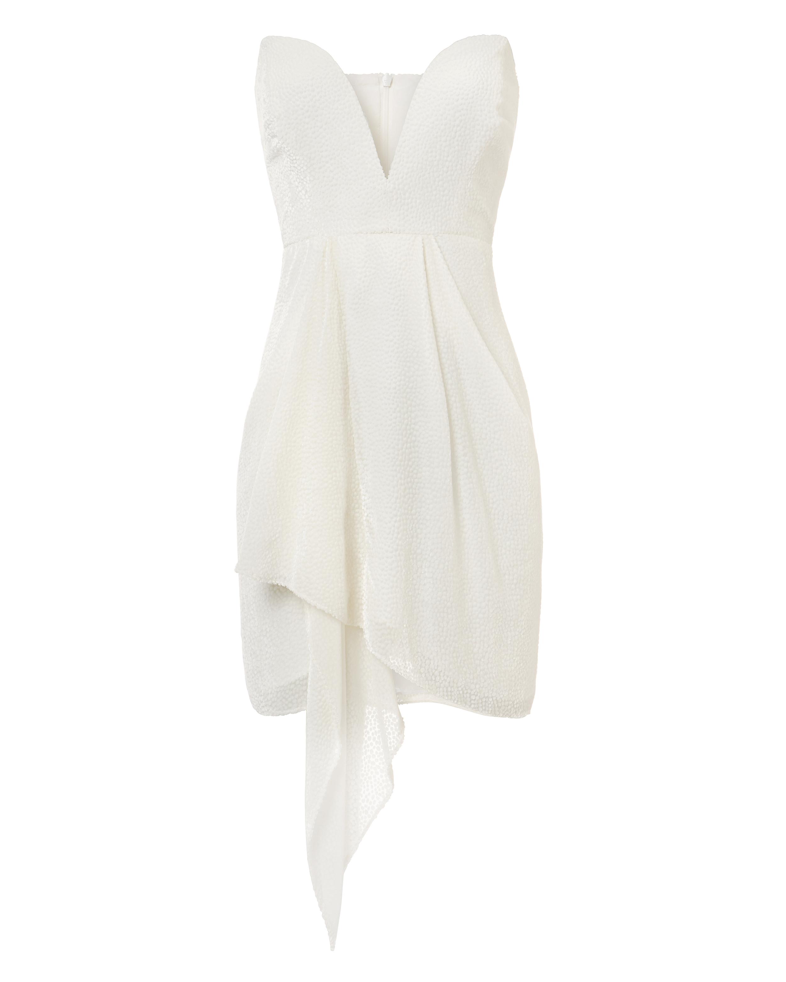 MASON MICHELLE  WHITE STRAPLESS VELVET BURNOUT DRESS WHITE