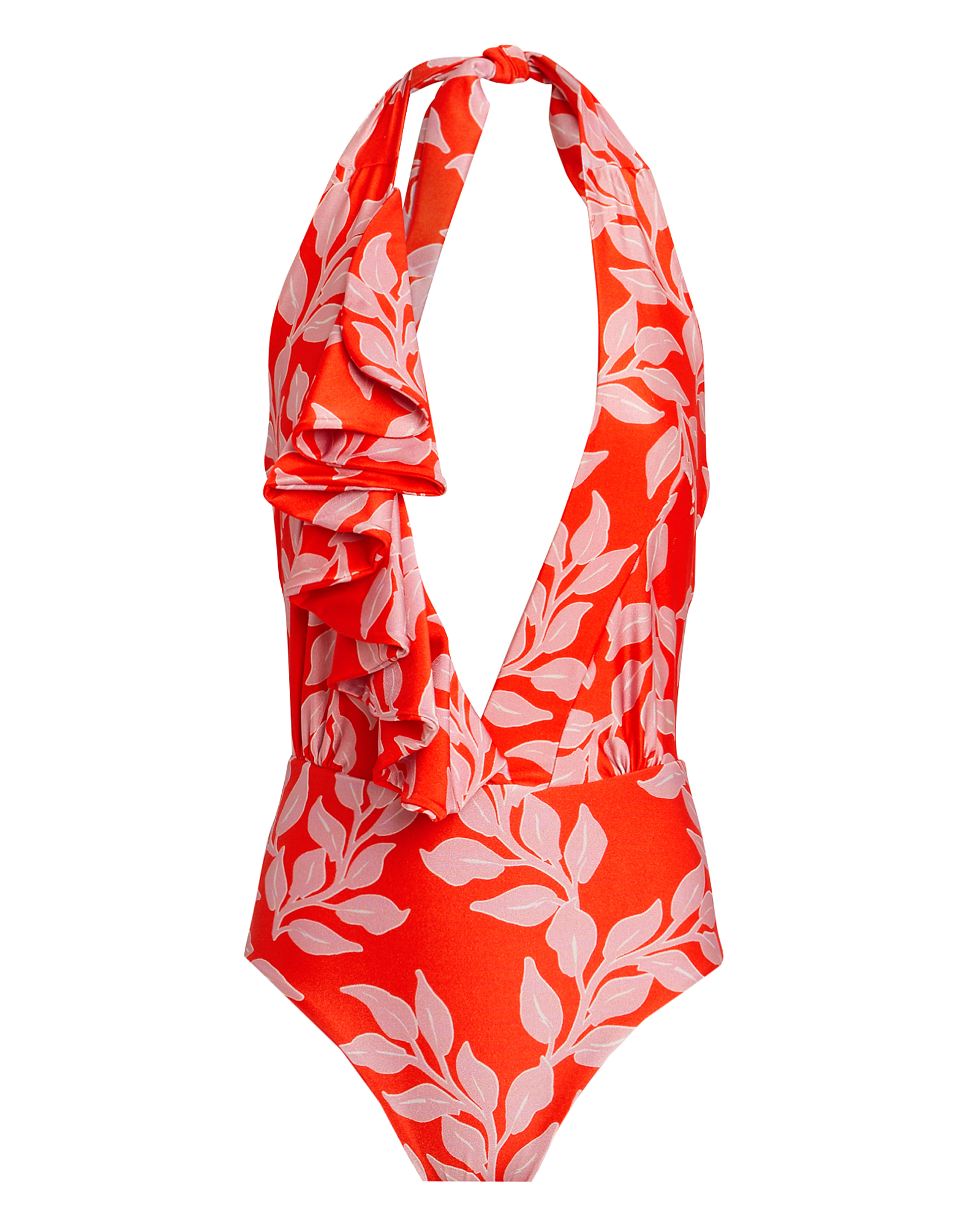Patbo  PATBO LEAF PRINTED ONE PIECE SWIMSUIT  PINK/RED P