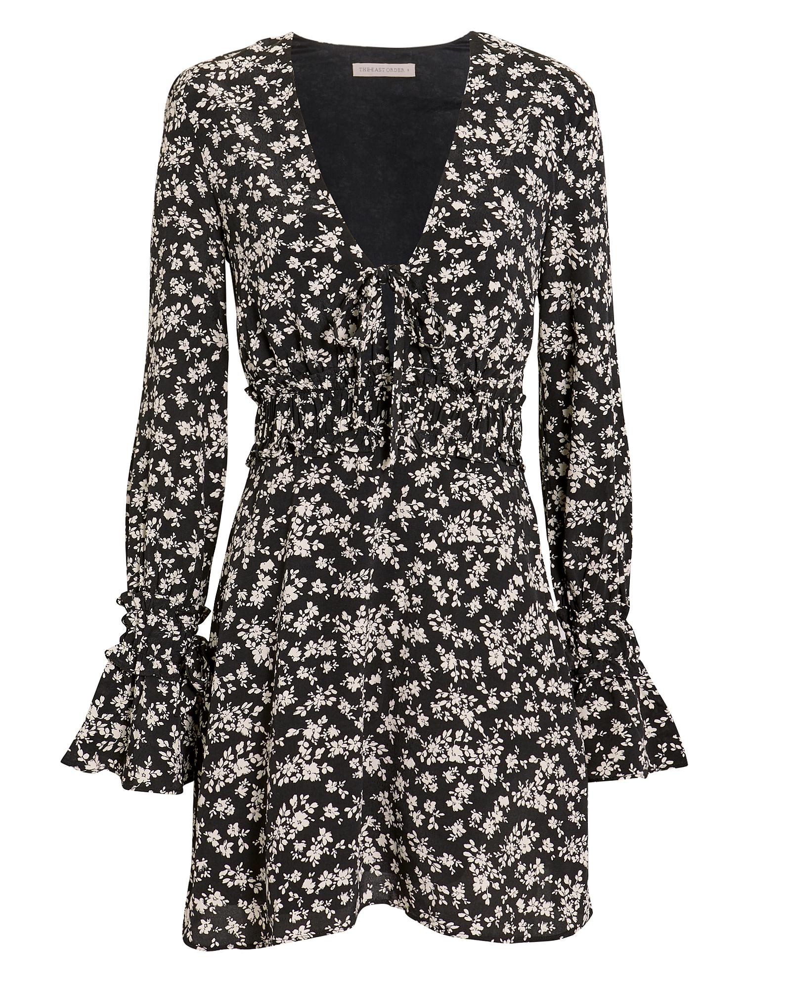 Elsa Floral-Print Mini Dress in Black/White
