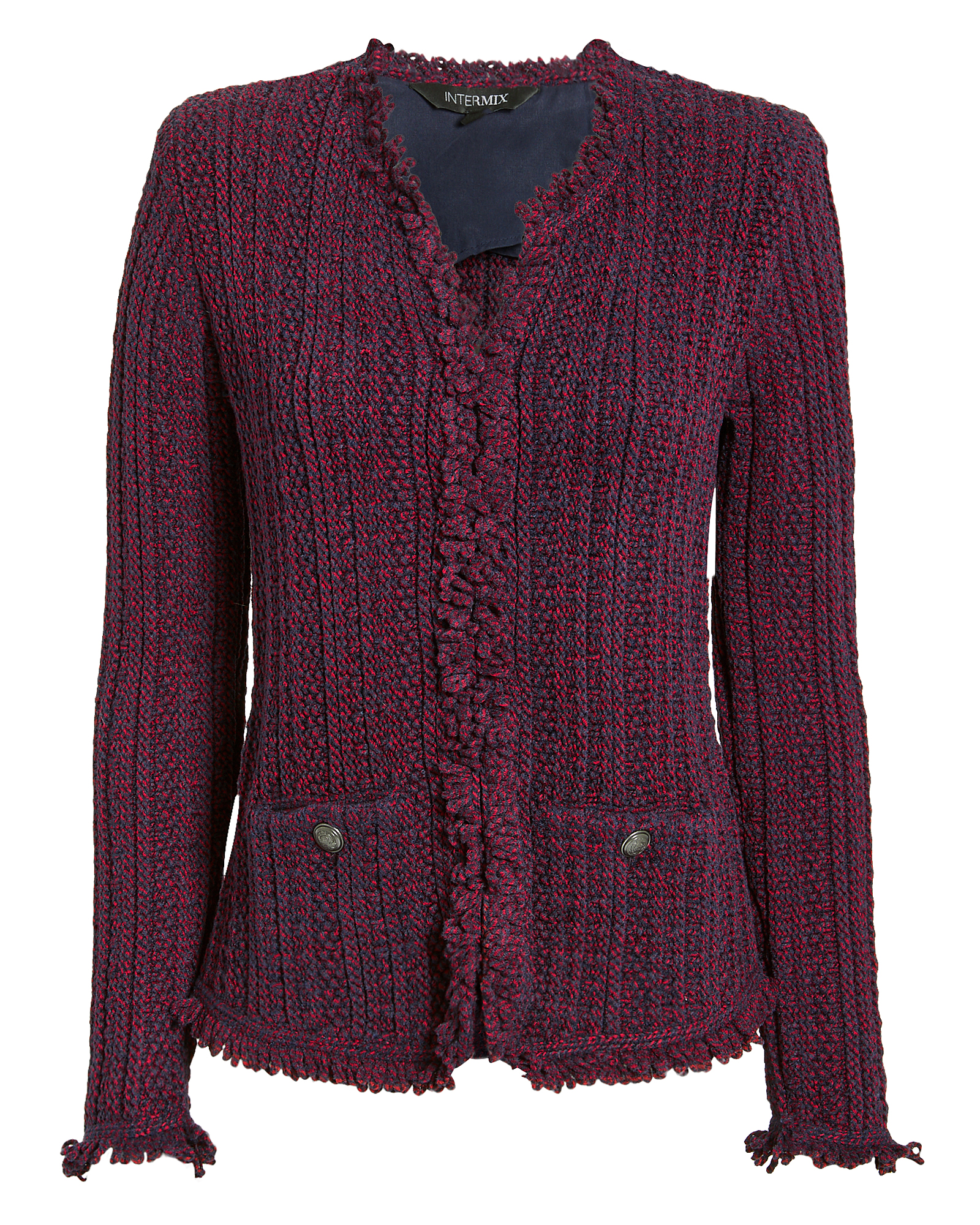 EXCLUSIVE FOR INTERMIX Intermix Ikaterina Two-Tone Knit Jacket Red/Blue