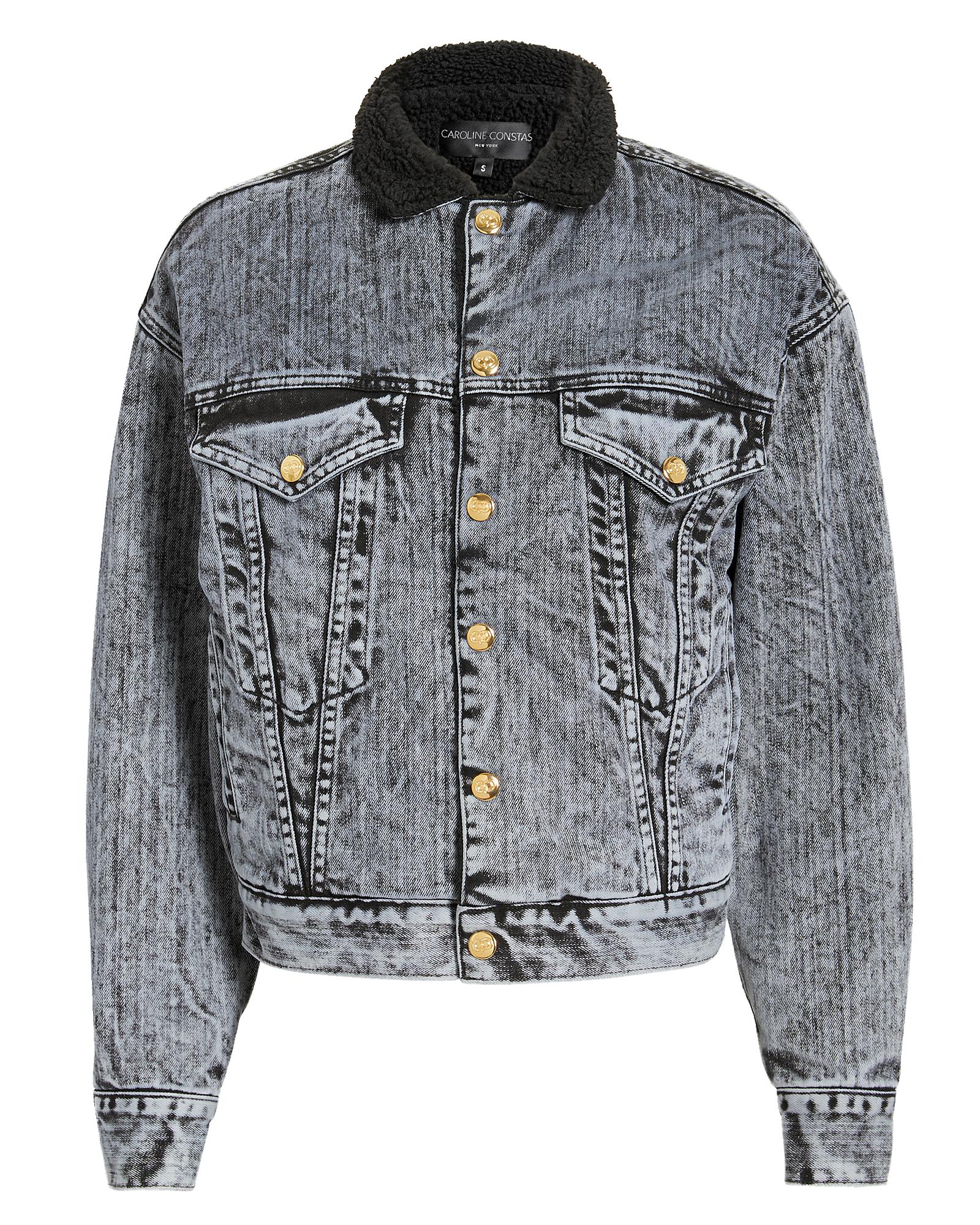 Caroine Constas Faux Shearing Denim Jacket Back