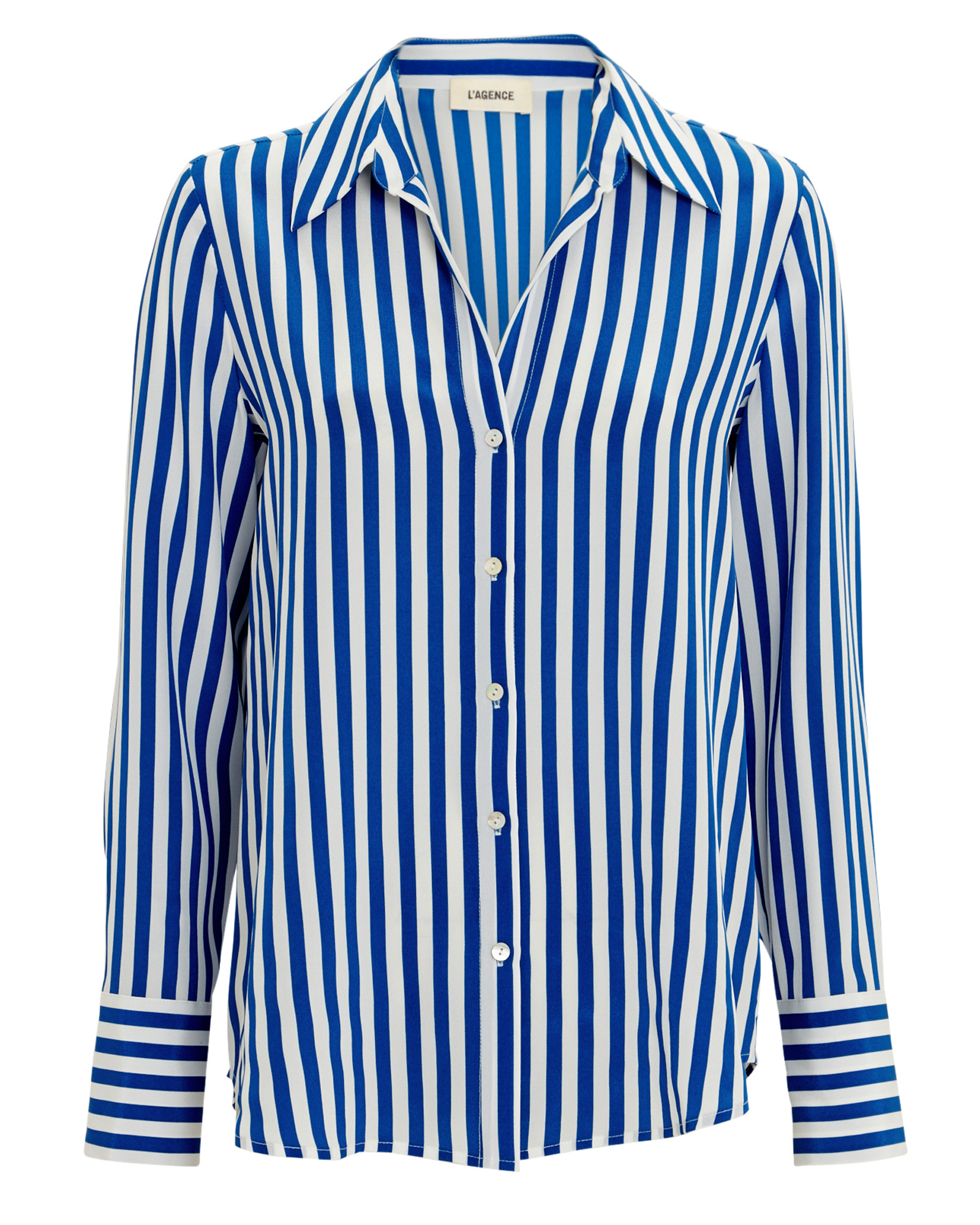 L'agence Tops L'AGENCE BRIELLE STRIPED SILK BLOUSE  BLUE/WHITE L