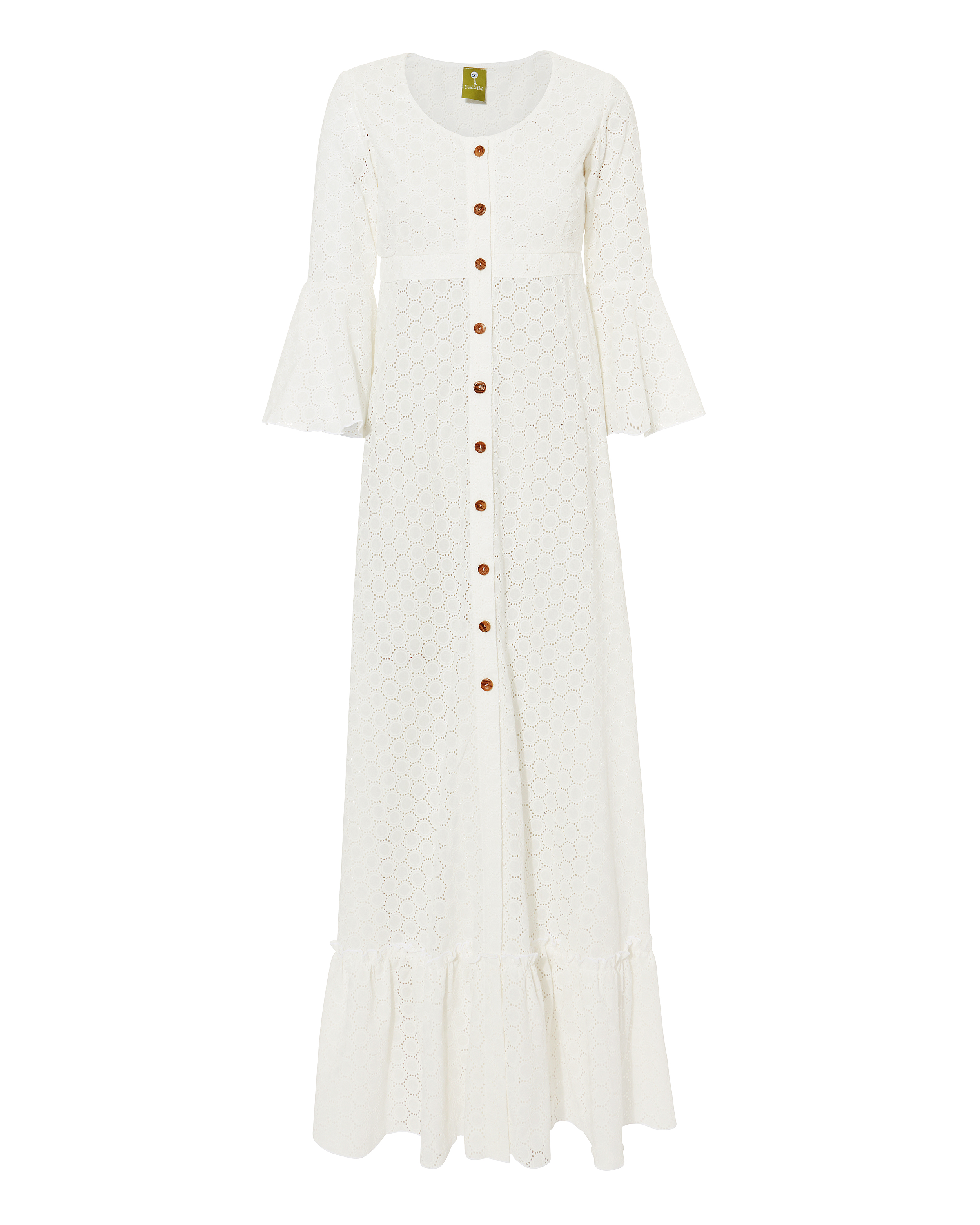 Chemisier Button Front Eyelet Maxi Dress by C'est La V