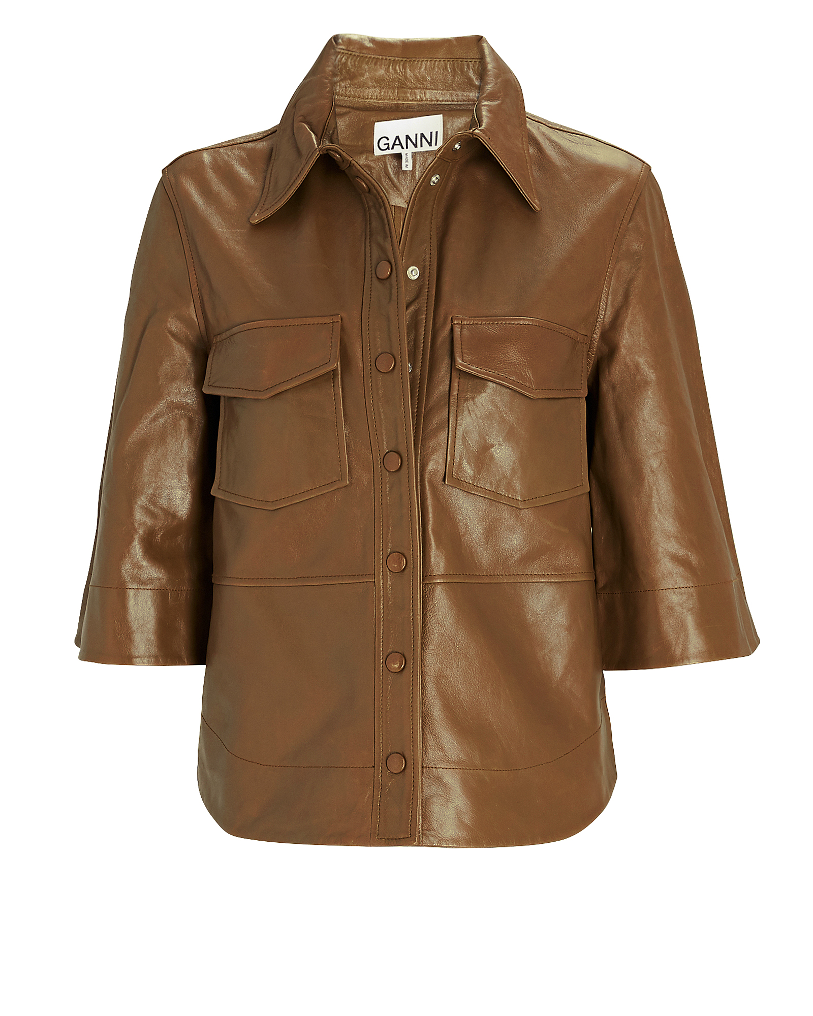 Ganni Leathers Leather Button-Down Shirt