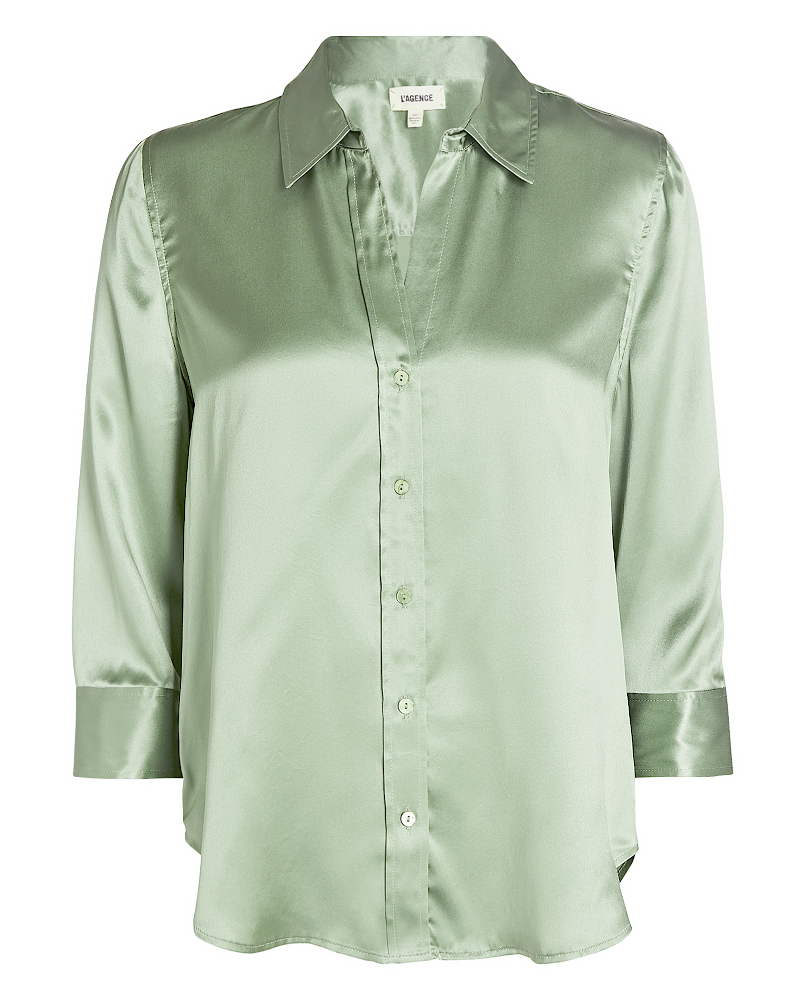 L Agence L'AGENCE DANI SILK BUTTON-DOWN SHIRT