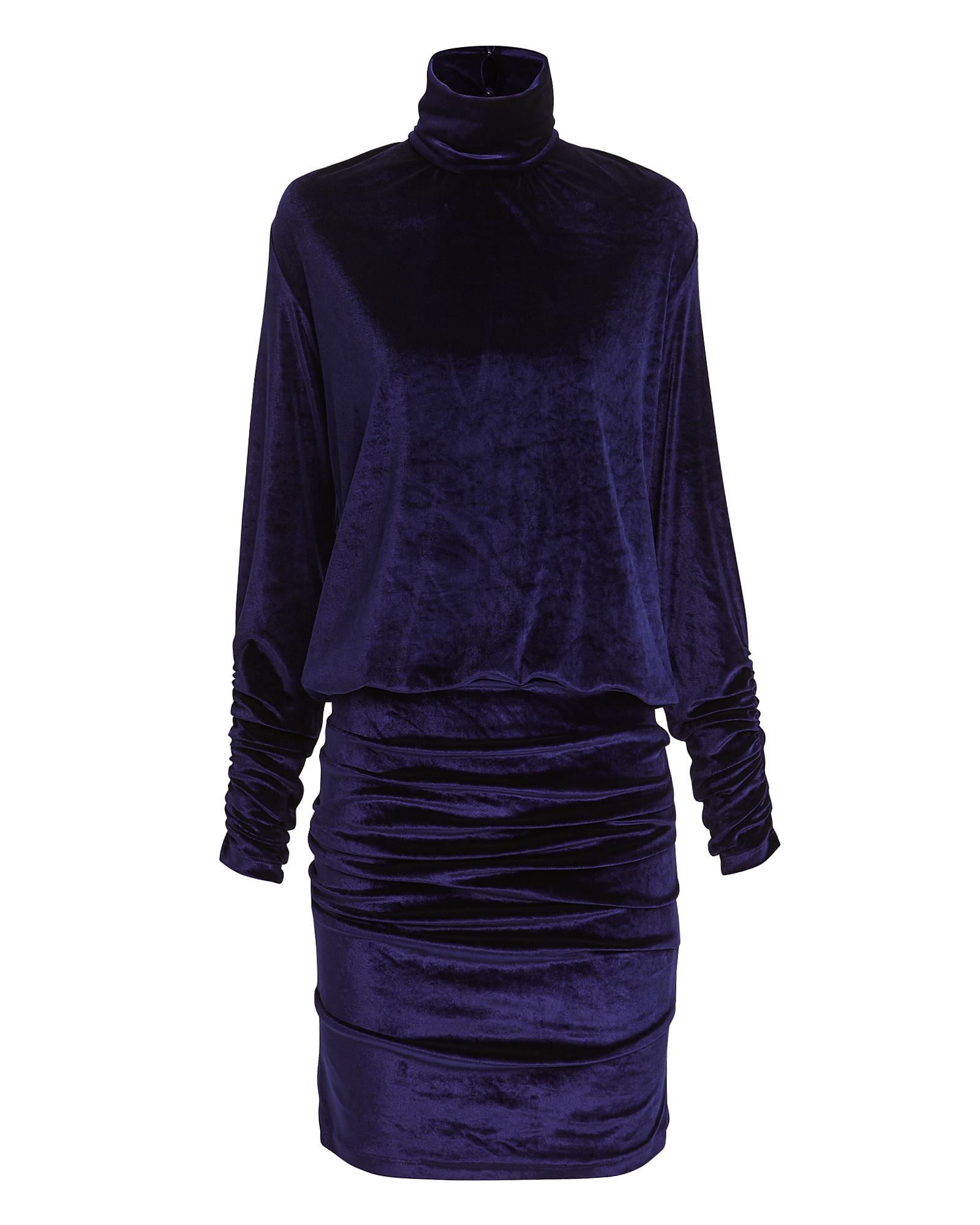 TORN Ronny Kobo Turtleneck Velvet Mini Dress Navy