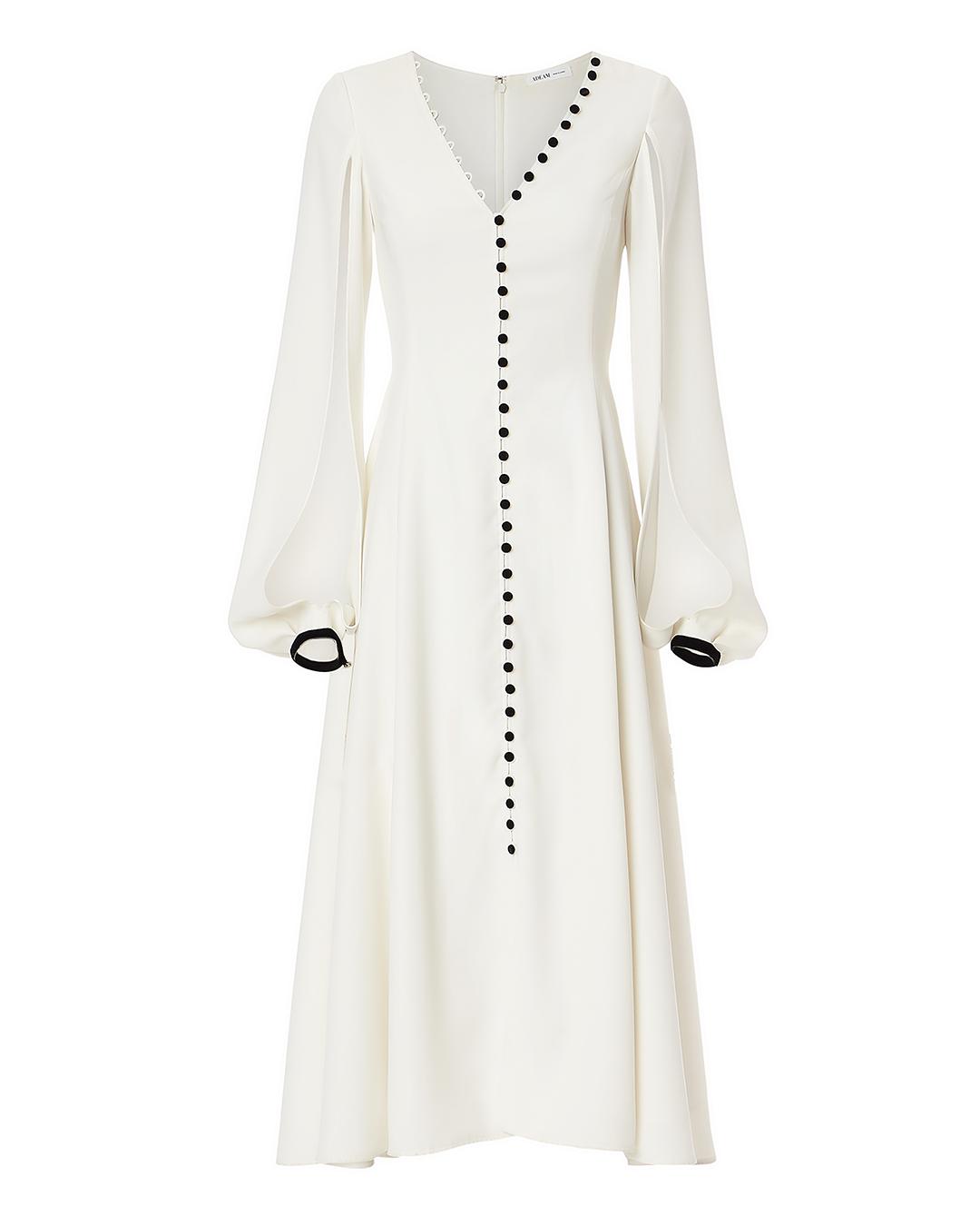 Adeam Button Detail Midi Dress