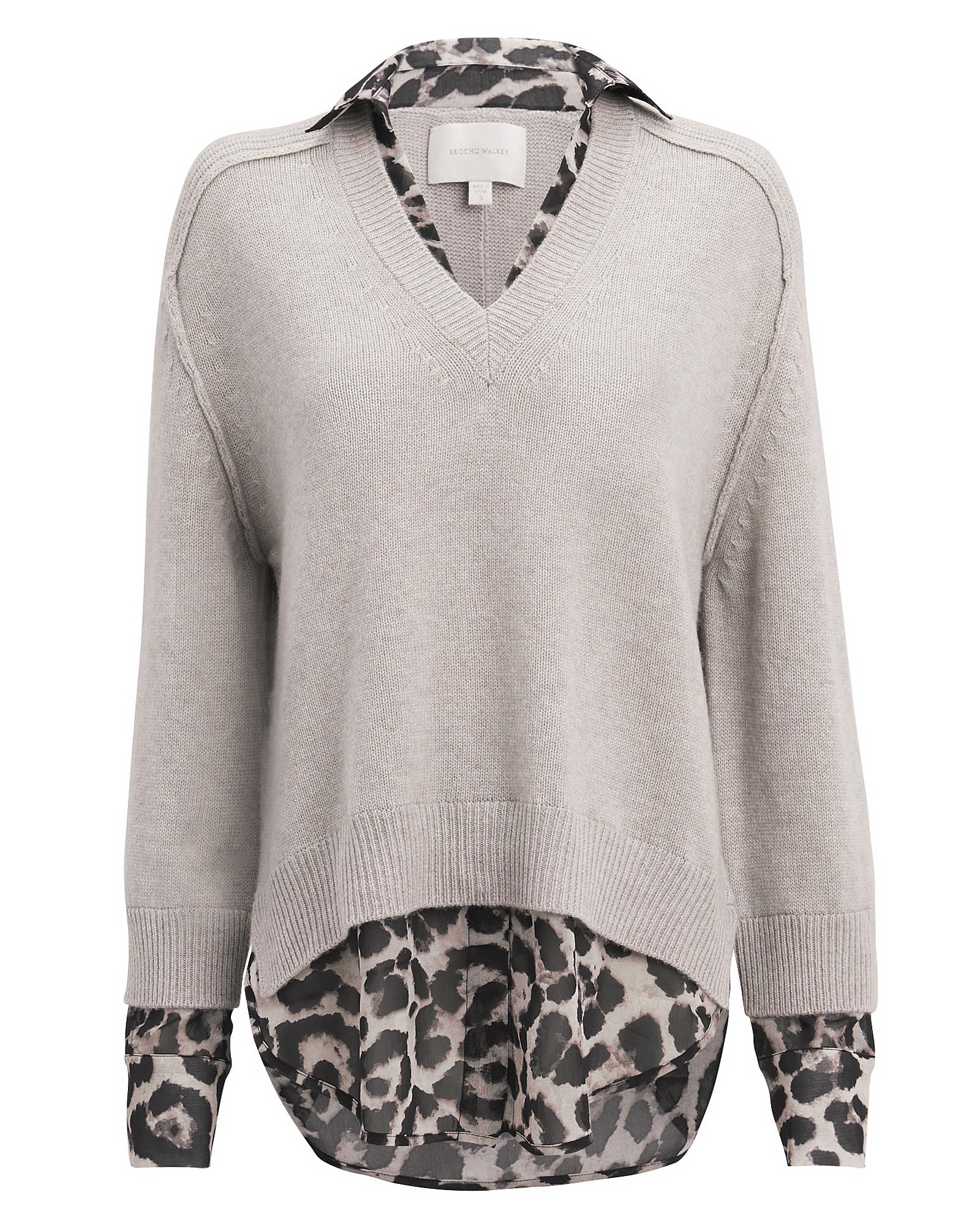Brochu Walker Sweaters Leopard Layered V-Neck Sweater