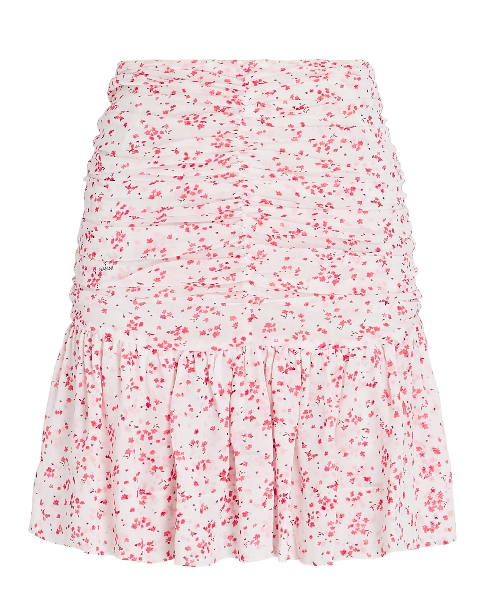 Ganni Mini skirts Ruched Floral Georgette Mini Skirt