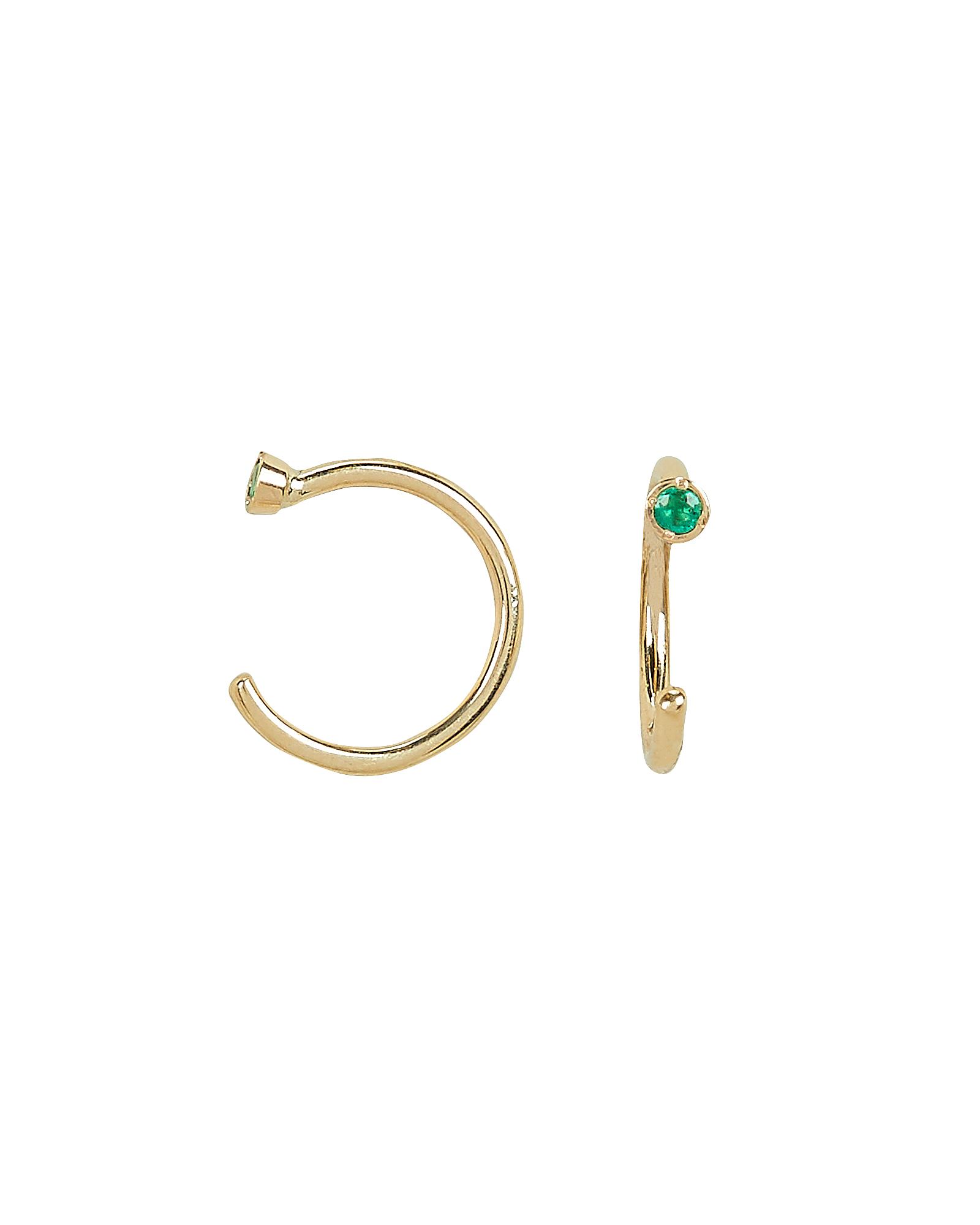 ARIEL GORDON JEWELRY Dual Emerald Birthstone Hoops