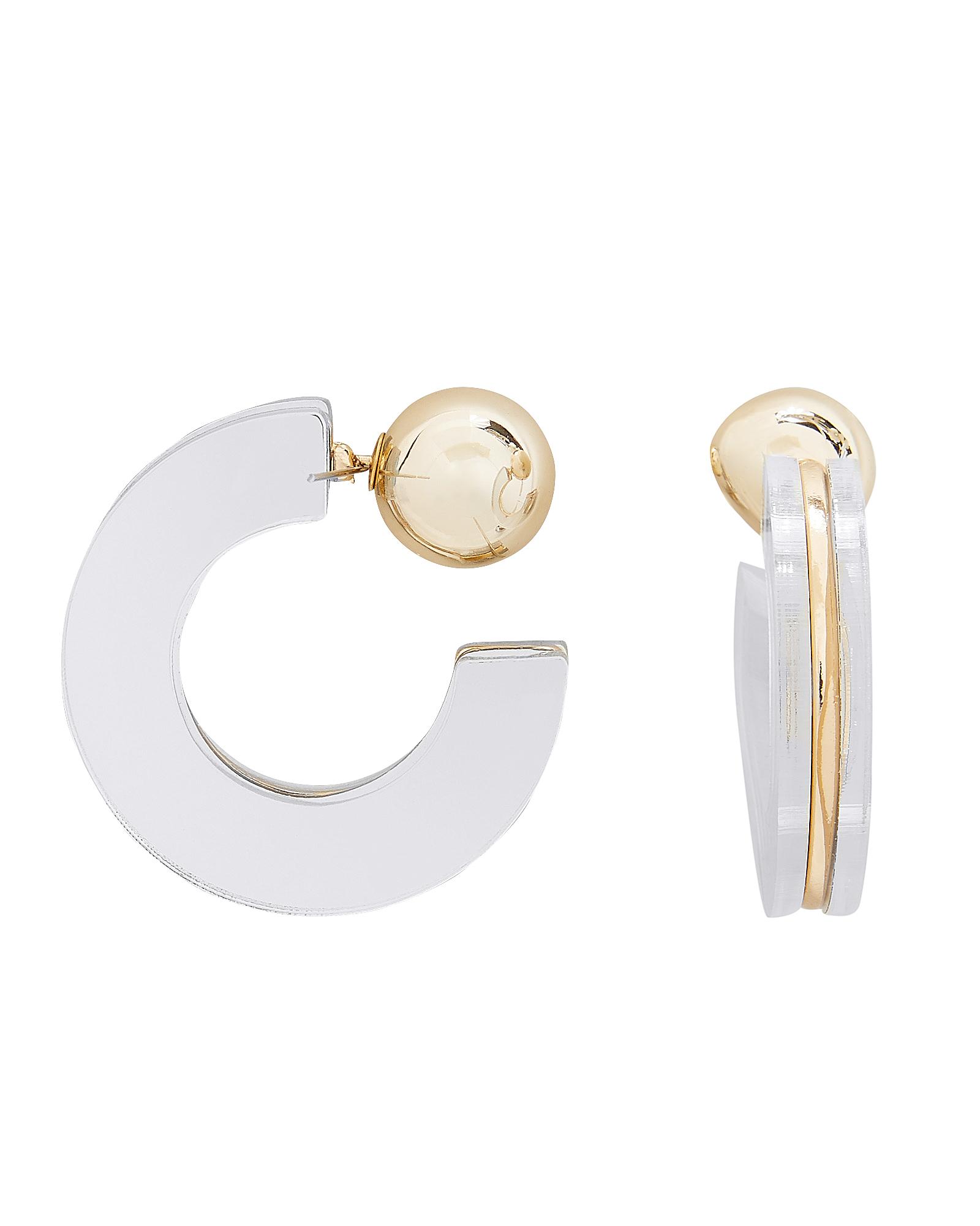 JARDIN JEWELRY Geometric Mirror Half Hoop Earrings