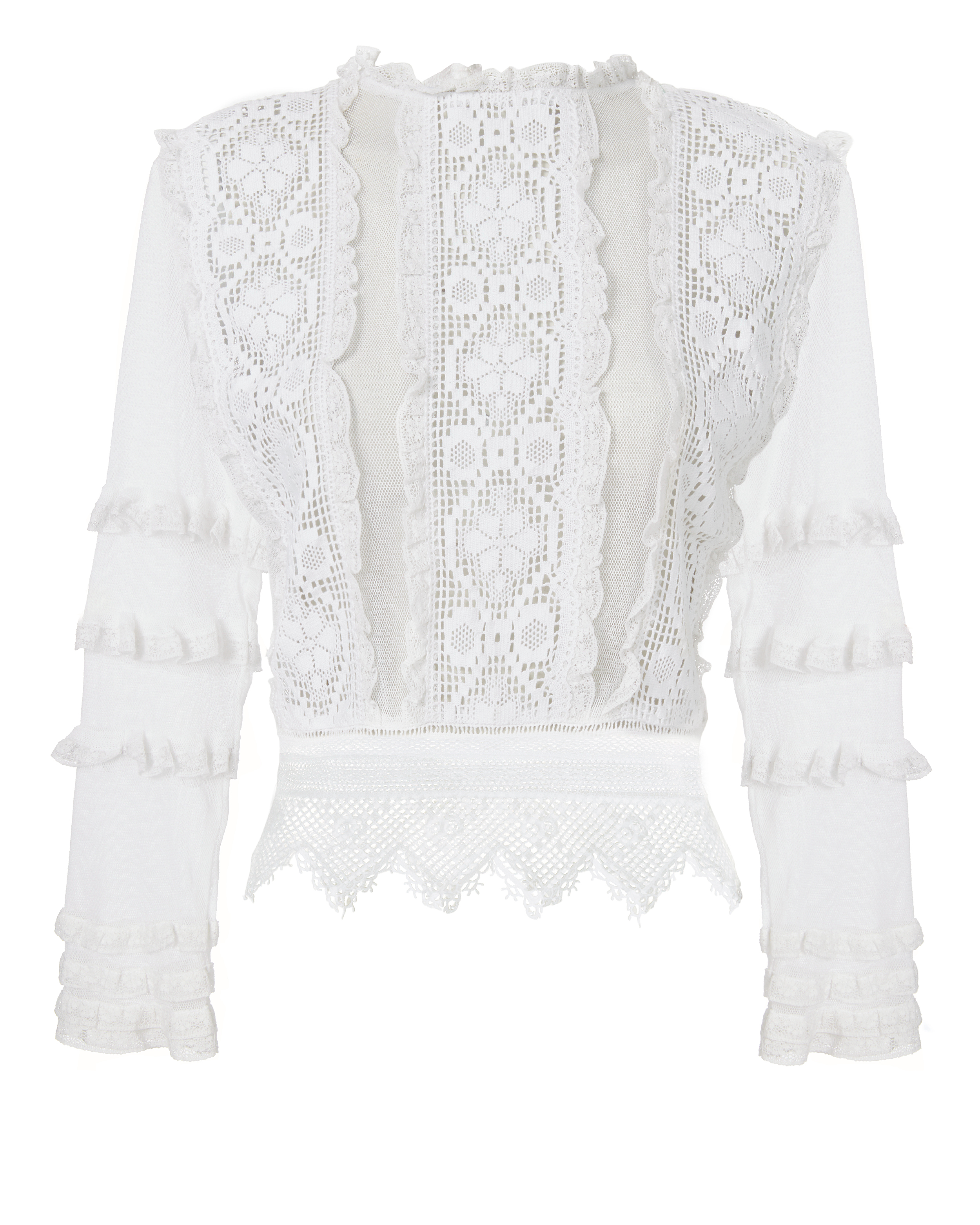 PLACE NATIONALE Provence Crochet-Lace And Mesh Top in White