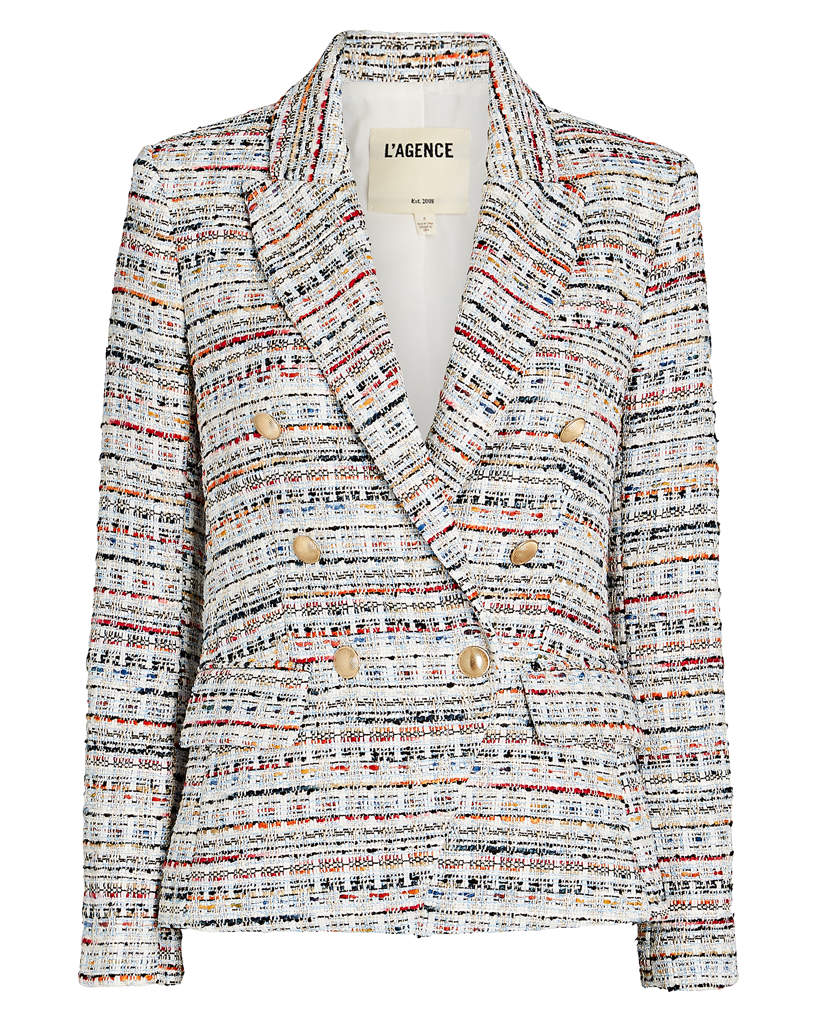 L Agence L'AGENCE KENZIE DOUBLE-BREASTED TWEED BLAZER