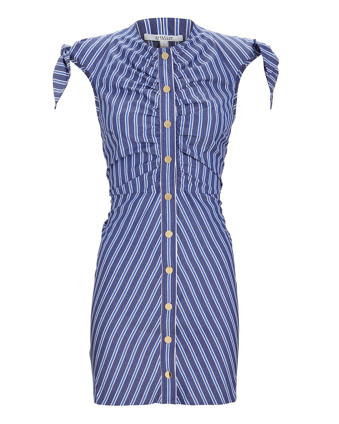10 CROSBY DEREK LAM  RUCHED STRIPED MINI DRESS BLUE-MED