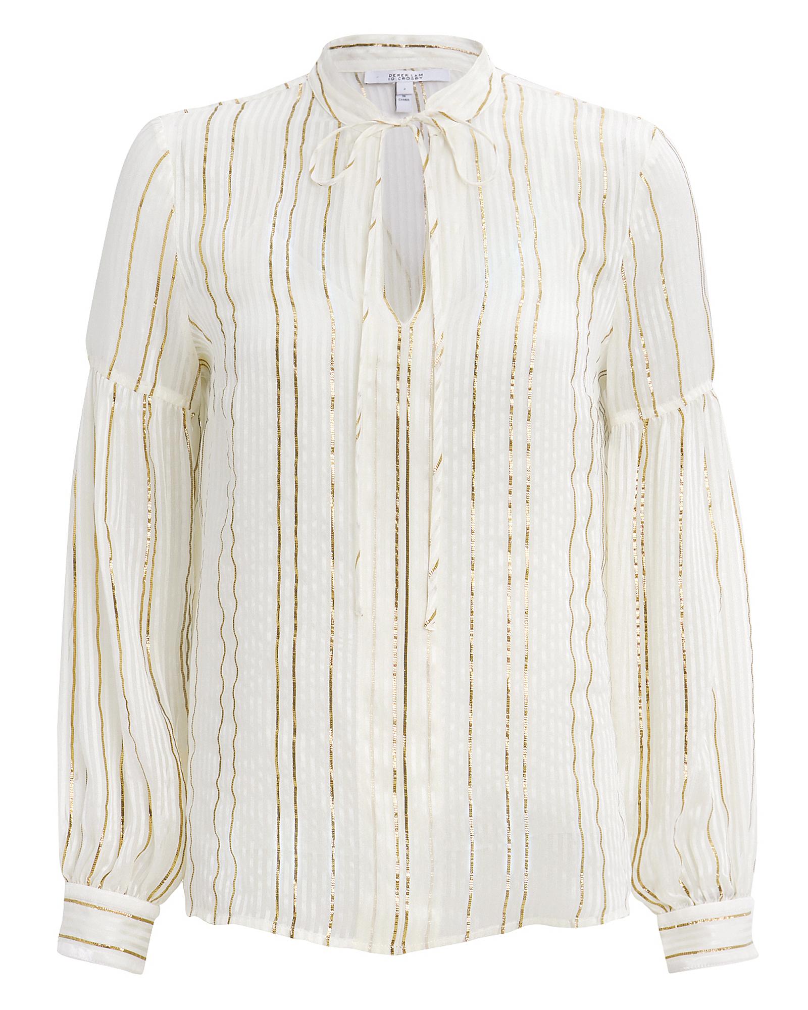 10 CROSBY Lurex-Striped Blouse