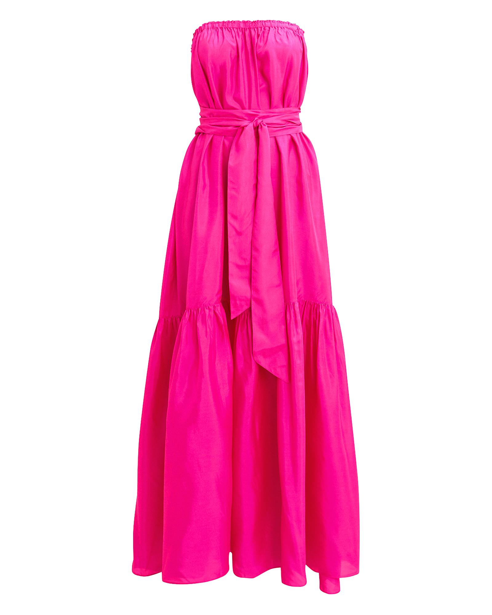 ANNAK Anaak Sakura Strapless Maxi Dress Shocking Pink