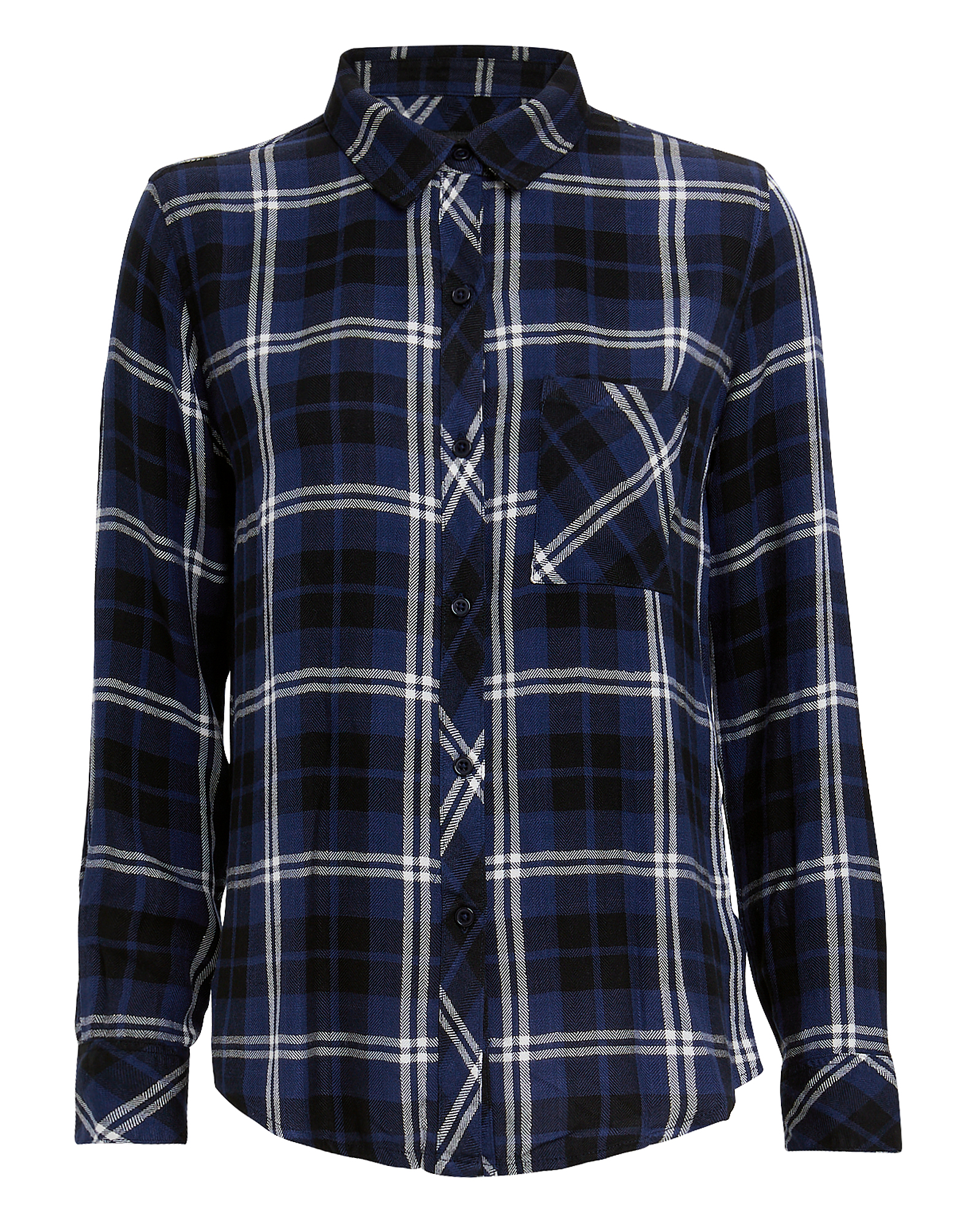 RAILS Hunter Navy Plaid Button Down Top in Navy Almond Tinsel