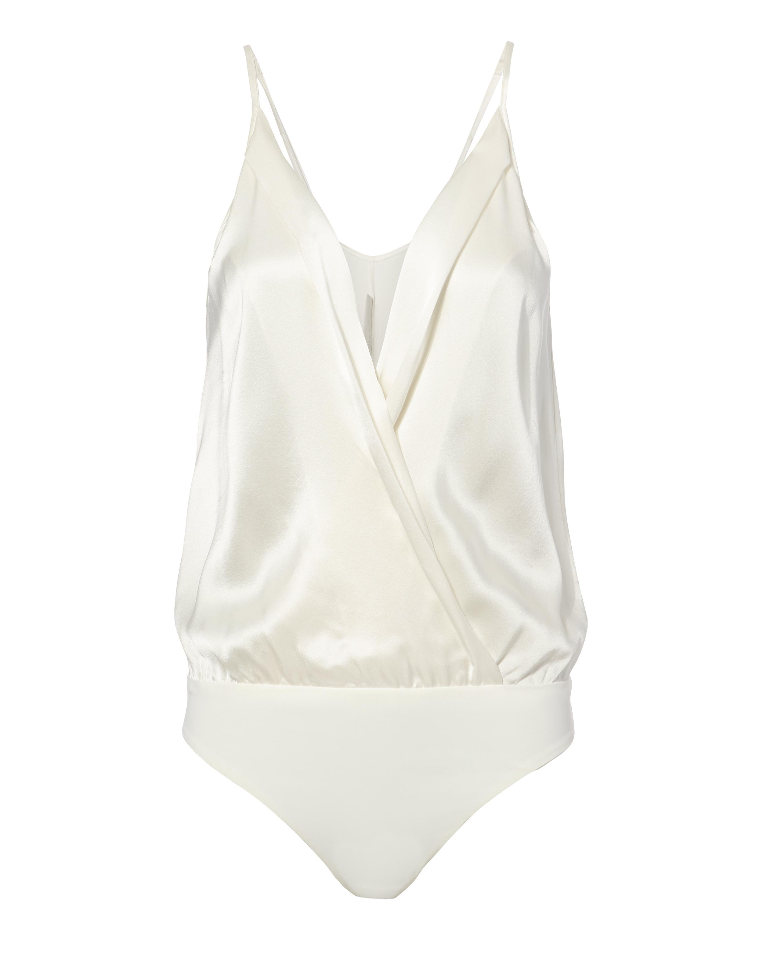 MASON Silk Cami Cross Front White Bodysuit