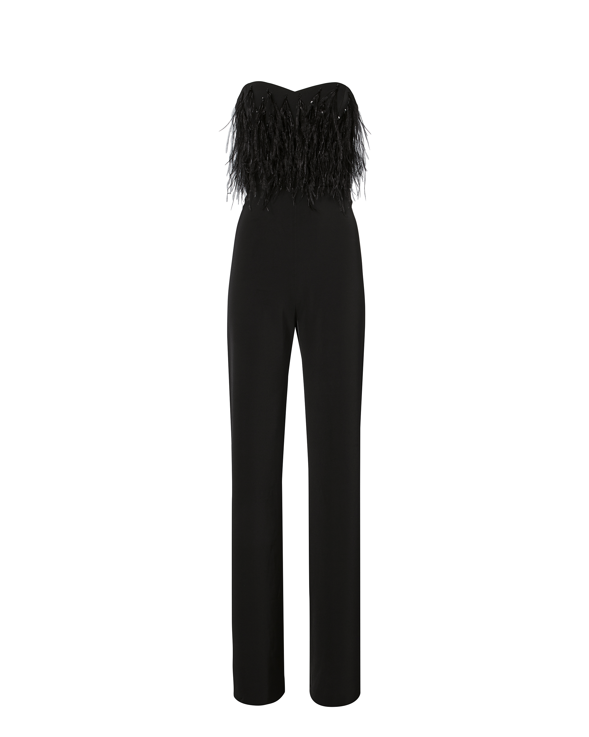 Aurelie Feathered Strapless Jumpsuit by Saloni