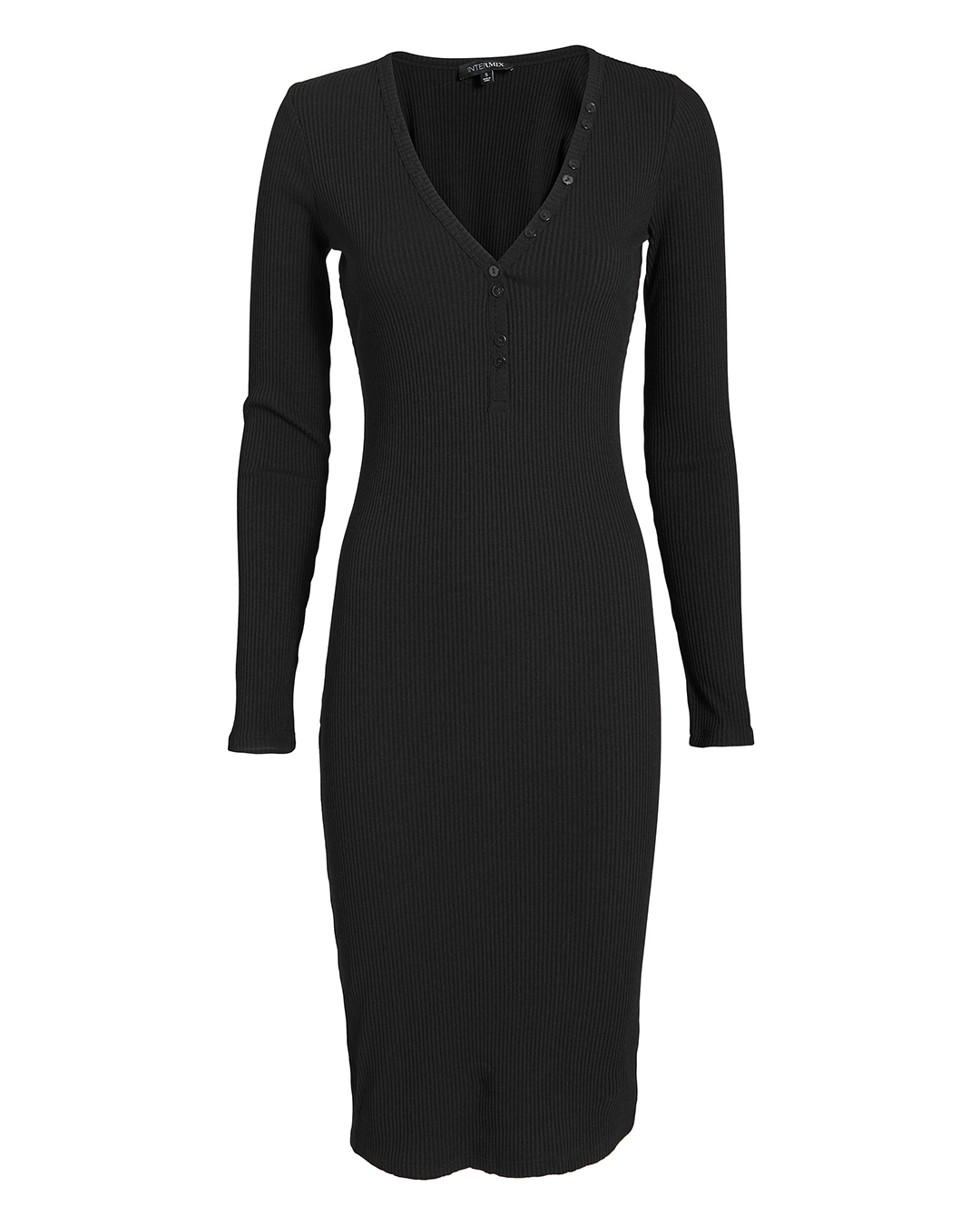 EXCLUSIVE FOR INTERMIX INTERMIX MOLLY BUTTON FRONT RIBBED DRE BLACK