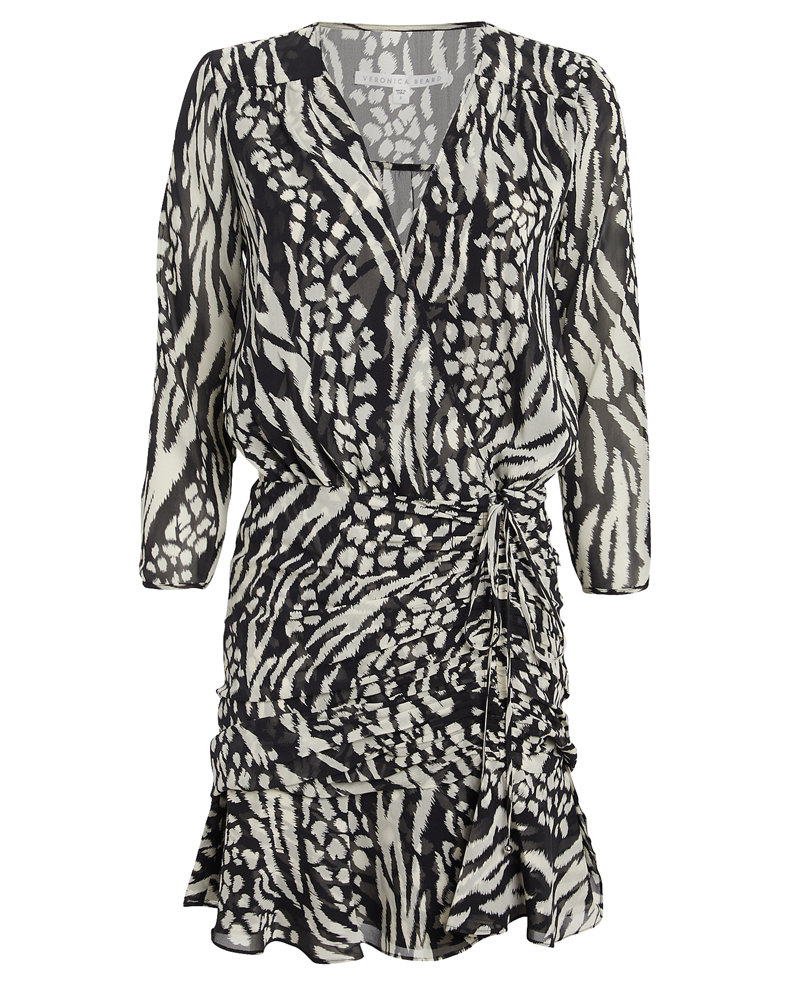 Veronica Beard Dresses VERONICA BEARD KIRAN SILK ANIMAL PRINT MINI DRESS