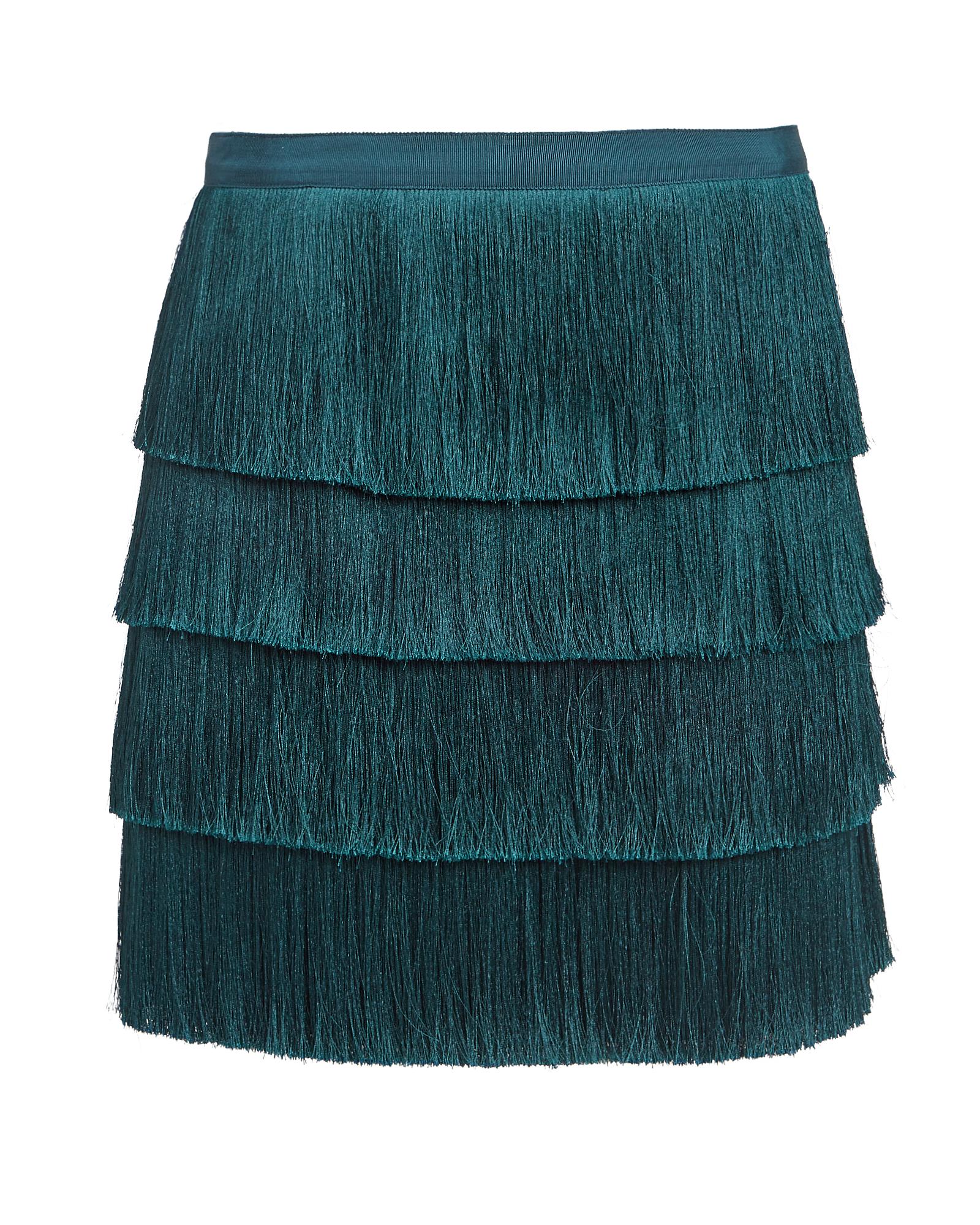 Intermix Raine Fringe Mini Skirt Teal Blue