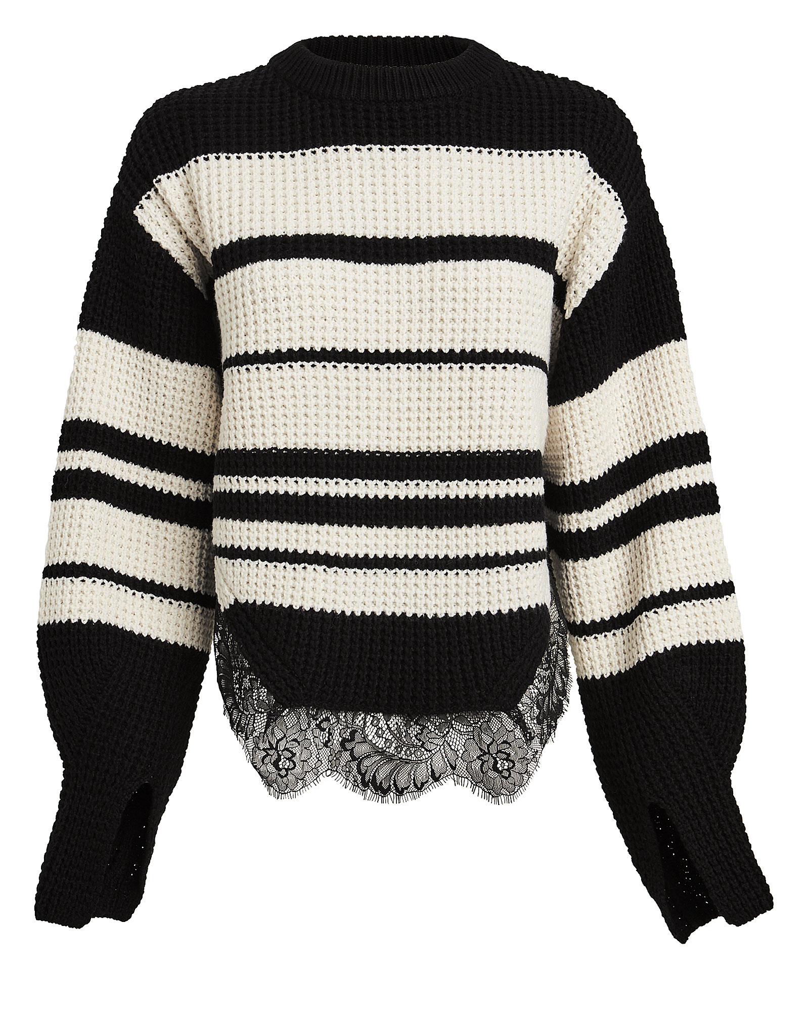 Striped Lace Trimmed Sweater by Self Portrait
