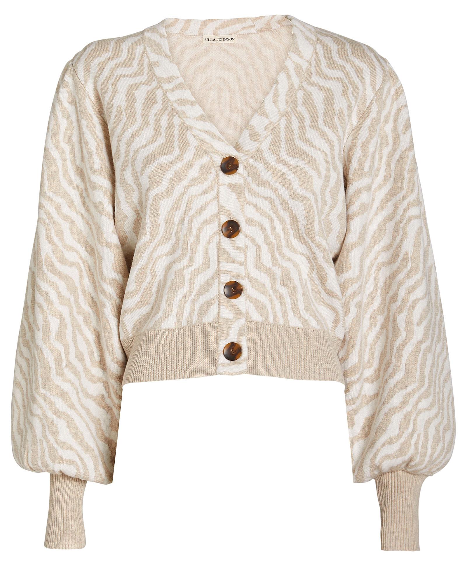 Cici Zebra Knit Wool Cardigan by Ulla Johnson