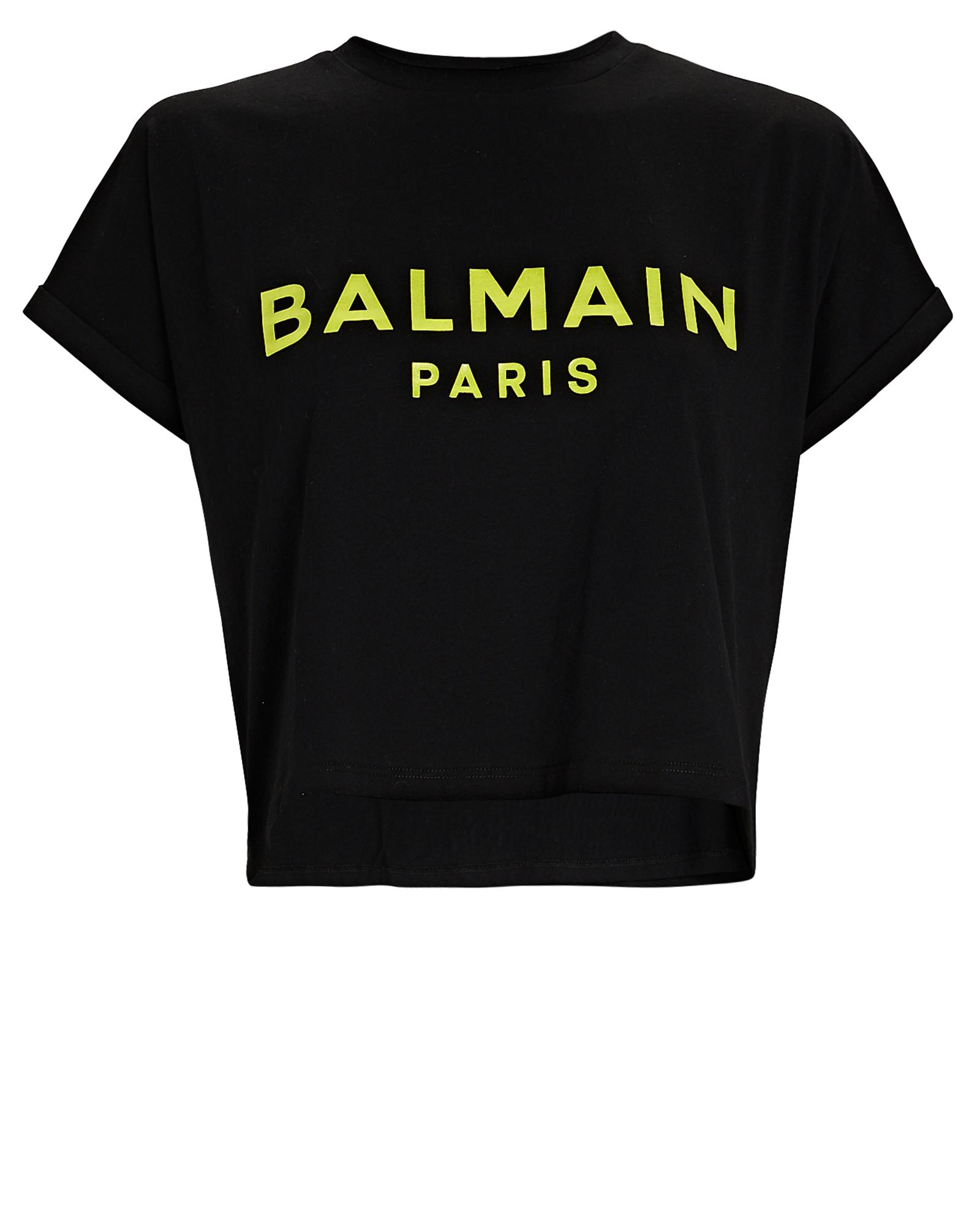 Balmain Cottons Cropped Logo Cotton T-Shirt