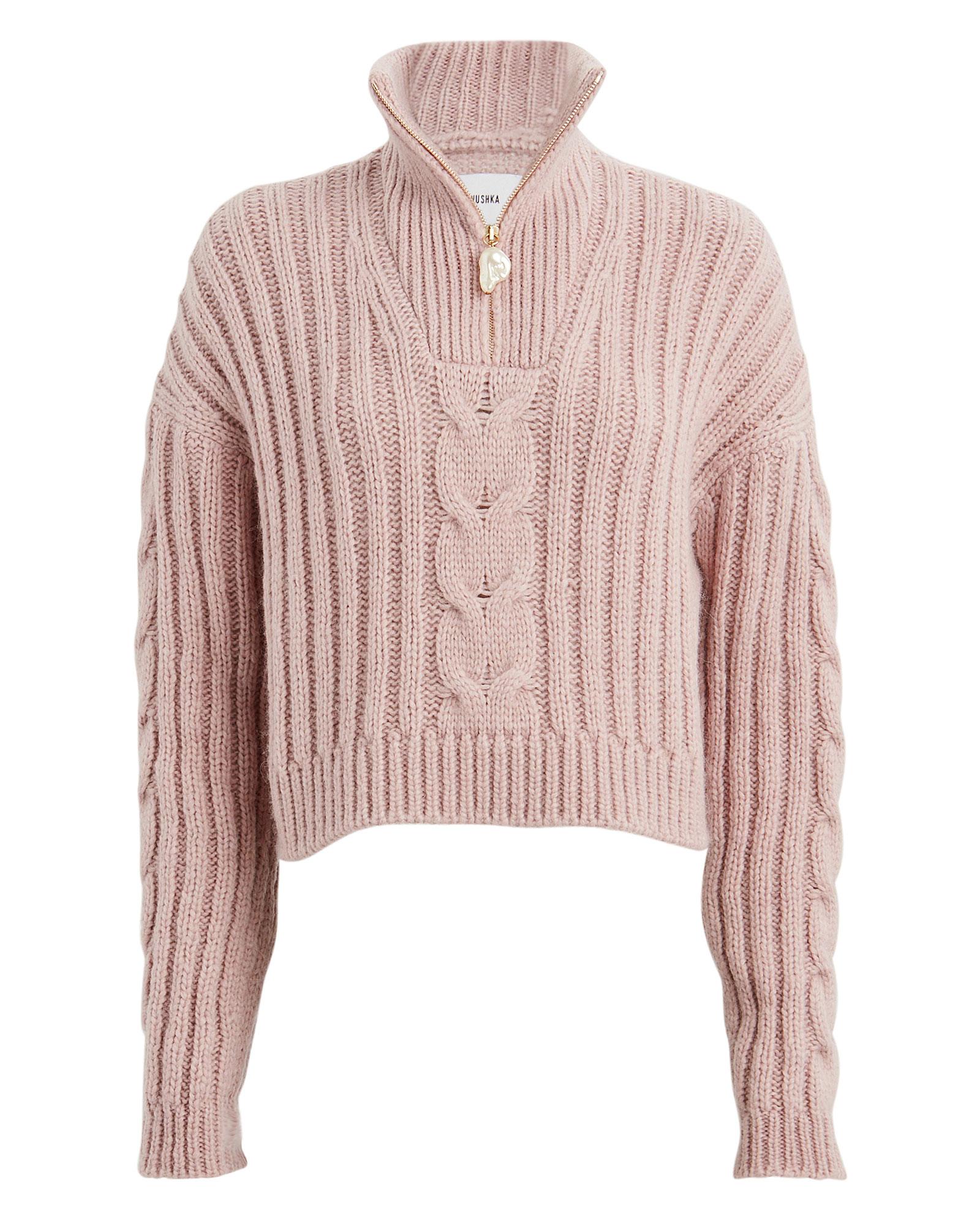 Nanushka Sweaters NANUSHKA ERIA HALF ZIP CABLE SWEATER
