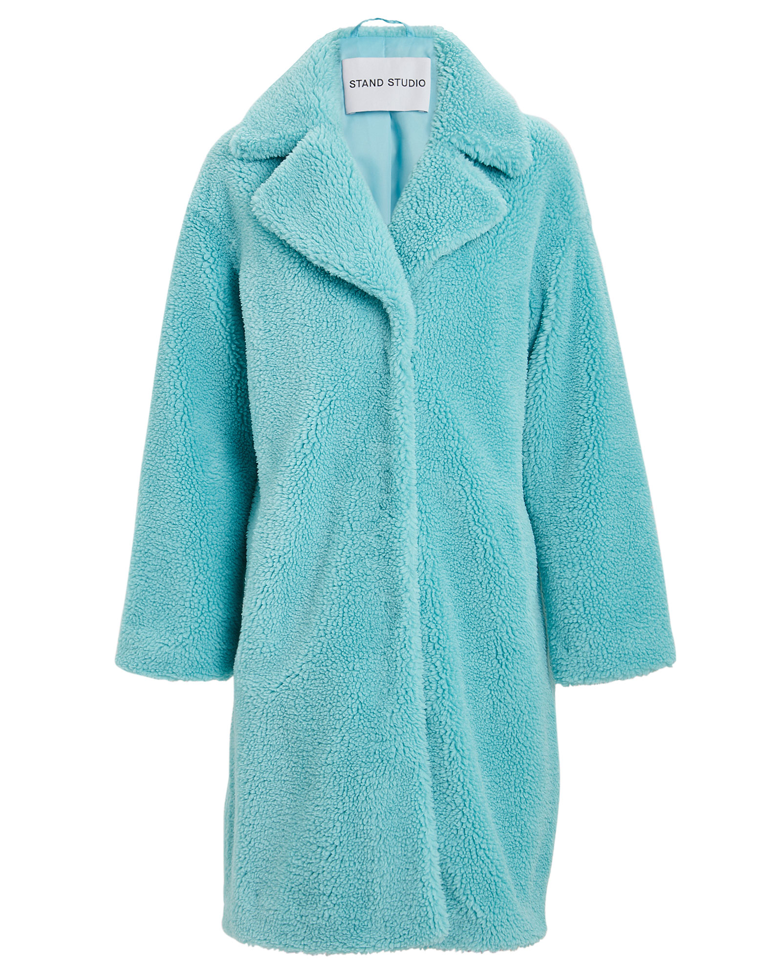 Stand Studio Stand Camille Faux Shearling Cocoon Coat In Turquoise