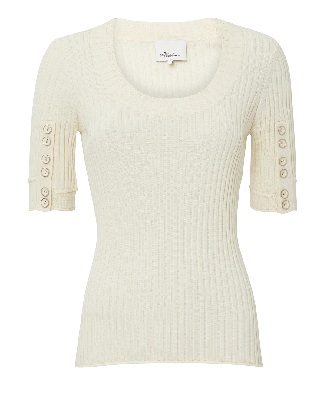 PHILLIP LIM Ribbed Button Sleeve Top