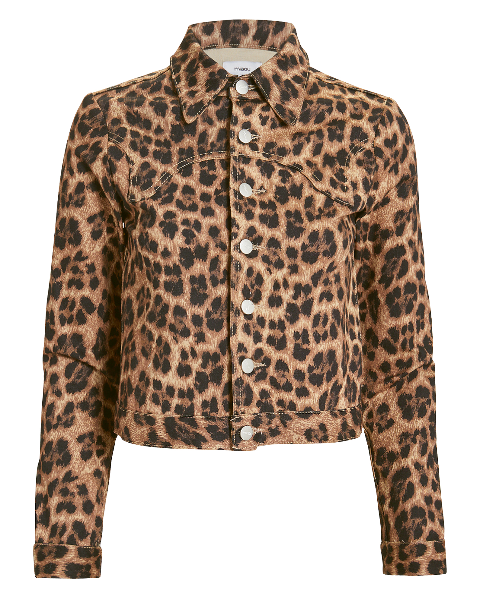MIAOU Lex Leopard Print Cropped Cotton Blend Jacket in Brown